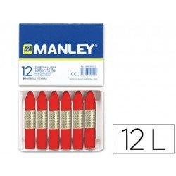 Lapices cera blanda Manley caja 12 unidades rojo escarlata