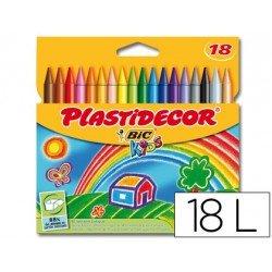 Lapices cera Plastidecor caja 18 colores