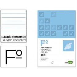 Recambio Liderpapel Folio rayado horizontal