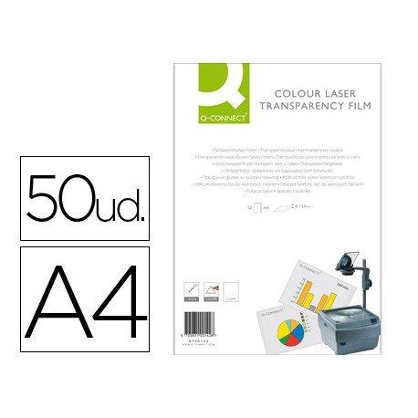 Transparencias Din A4 Q-Connect, válido para impresoras láser color