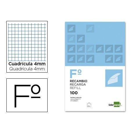 Recambio Liderpapel Folio cuadricula 4mm