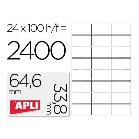 Etiquetas Adhesivas Apli 64,6 x 33,8 mm 24 Etiquetas por Hoja