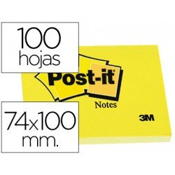 Post-it ® Bloc de notas adhesivas color amarillo quita y pon 74x100 mm
