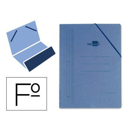 Carpeta Liderpapel con gomas carton azul bolsa folio