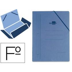 Carpeta Liderpapel con gomas carton azul solapas folio