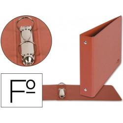 Carpeta marca Liderpapel 2 anillas 25 mm carton cuero folio apaisado