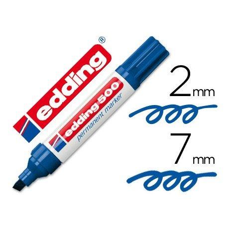 Rotulador Permanente Edding 500 Color Azul Punta Biselada