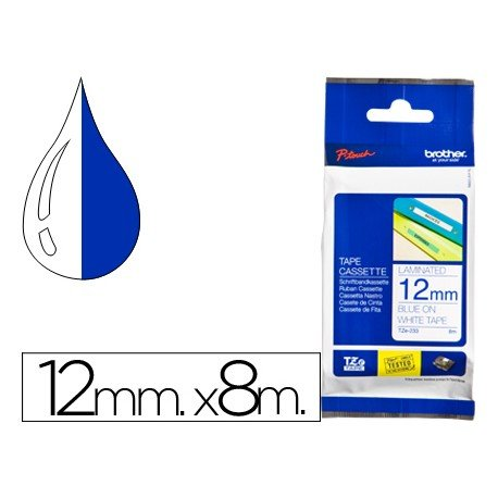 Cinta Brother TZE-233 laminada 12mm (ancho) x 8m (largo) laminada blanco/azul