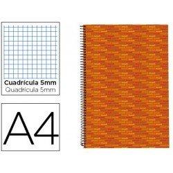 Bloc espiral Liderpapel Din-A4 serie Multilider tapa forrada naranja