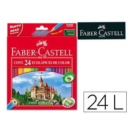 Lapices de colores Faber-Castell hexagonal caja 24 unidades + sacapuntas