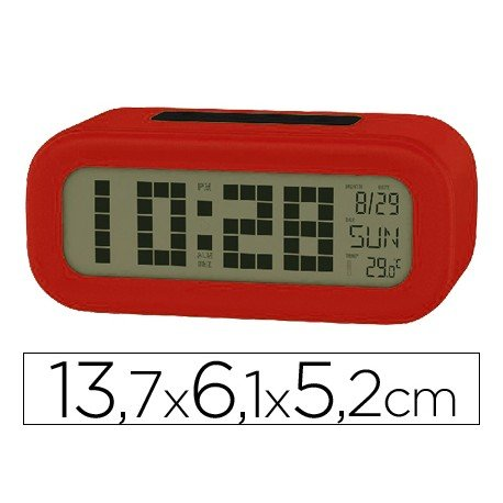 Reloj despertador pantalla retroiluminada color rojo
