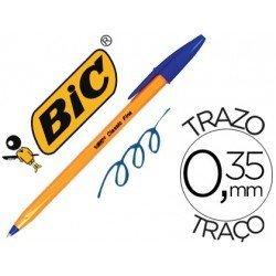 Boligrafo Bic tinta azul cuerpo naranja