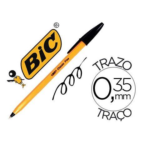 Boligrafo Bic tinta negra 0,35 mm cuerpo naranja