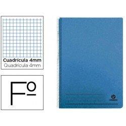 Bloc espiral Liderpapel Folio tapa cartoncillo azul