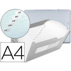 Carpeta Beautone con clasificador fuelle Din-A4 transparente