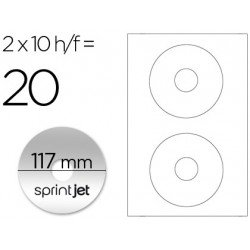 Etiqueta adhesiva marca Sprint jet din A4 para cd-dvd metalizado pack de 10 hojas