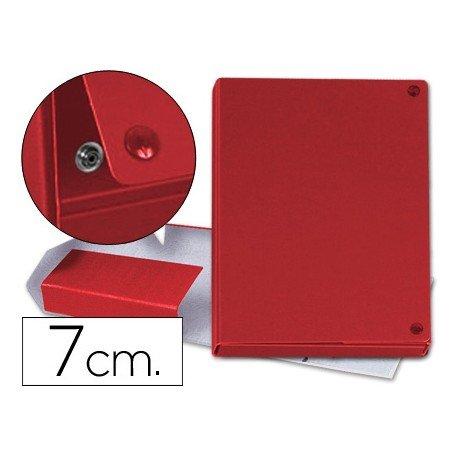 Carpeta proyectos carton forrado geltex lomo de 7 cm rojo