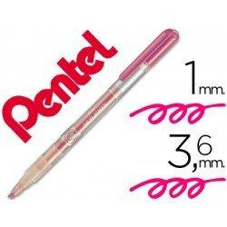 Rotulador Pentel fluorescente color rosa punta biselada