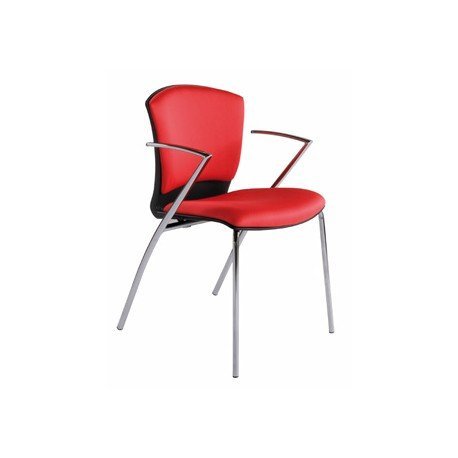 Silla Rocada cromada con brazos roja