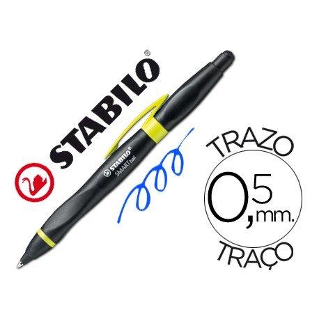 Boligrafo Stabilo Smartball amarillo y negro 0,5 mm tinta azul