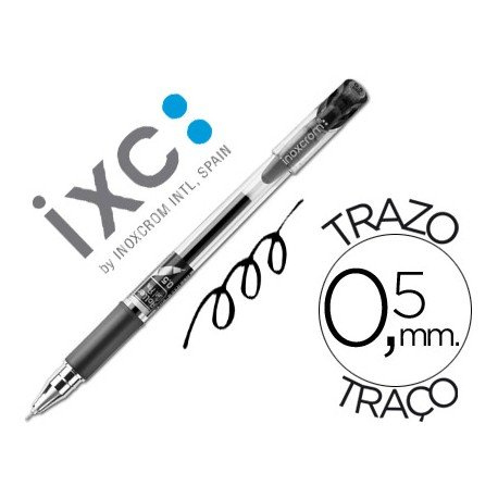 Boligrafo roller inoxcrom gel campus con grip negro 0,5 mm