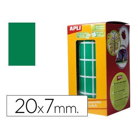 Gomets Apli Rectangulares color verde 20x7mm
