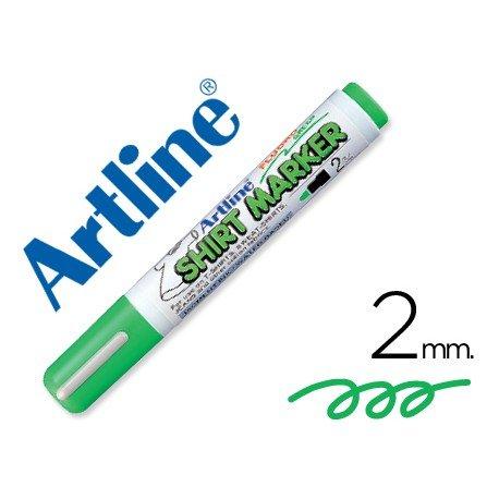 Rotulador Artline color verde fluorescente para uso en camisetas