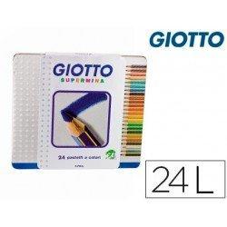 Lapices de colores Giotto supermina hexagonal caja metalica 24 unidades