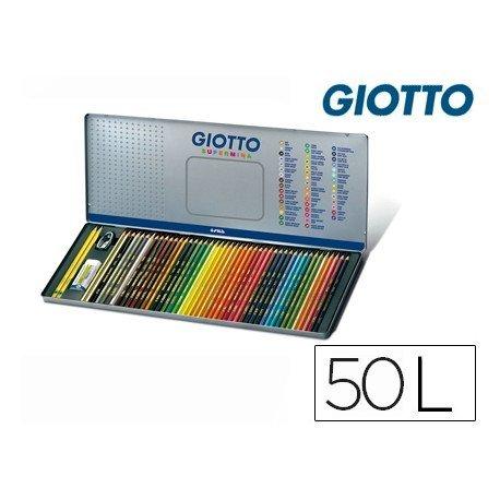Lapices de colores Giotto supermina hexagonal caja metalica 50 unidades