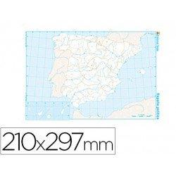 Mapa mudo de España político blanco y negro