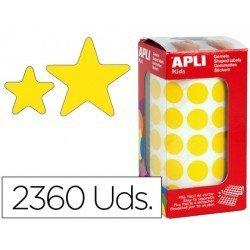 Gomets Apli estrella color amarillo tamaño surtido