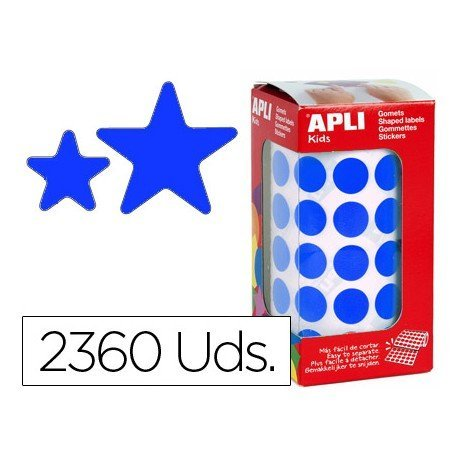 Gomets Apli estrella color azul tamaño surtido