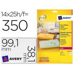 Etiquetas adhesivas marca Avery din A4 imprimibles transparente 99,1X38,1mm caja de 25 hojas con 350 etiquetas