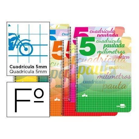 Bloc espiral marca liderpapel folio pautaguia tapa extradura 80h 80 g cuadriculado pautado 5 mm con margen colores surtidos