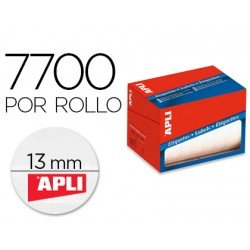 Etiqueta adhesiva marca Apli 1671 13 mm redondas rollo de 7700 unidades blancas
