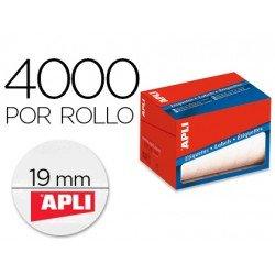 Etiqueta adhesiva marca Apli 1673 19 mm redondas rollo de 4000 unidades blancas