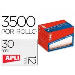Etiqueta adhesiva marca Apli 1680 12x30 mm redondas rollo de 3500 unidades blancas