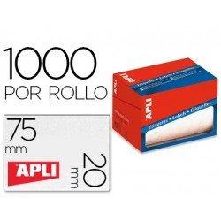 Etiqueta adhesiva marca Apli 1687 20x75 mm redondas rollo de 1000 unidades blancas