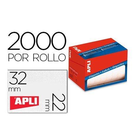 Etiqueta adhesiva marca Apli 1688 22x32 mm redondas rollo de 2000 unidades blancas