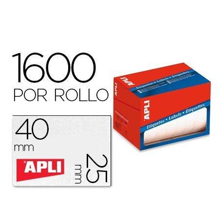 Etiqueta adhesiva marca Apli 1690 25x40 mm redondas rollo de 1600 unidades blancas