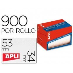 Etiqueta adhesiva marca Apli 1694 34x53 mm redondas rollo de 900 unidades blancas