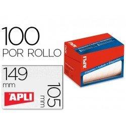 Etiqueta adhesiva Apli 1706 105x149 mm redondas rollo de 100 unidades blancas