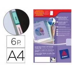 Separador Avery de plastico con 6 pestañas indice personalizable din a4