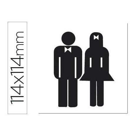 Etiqueta adhesiva Apli de señalizacion indicador silueta hombre y mujer