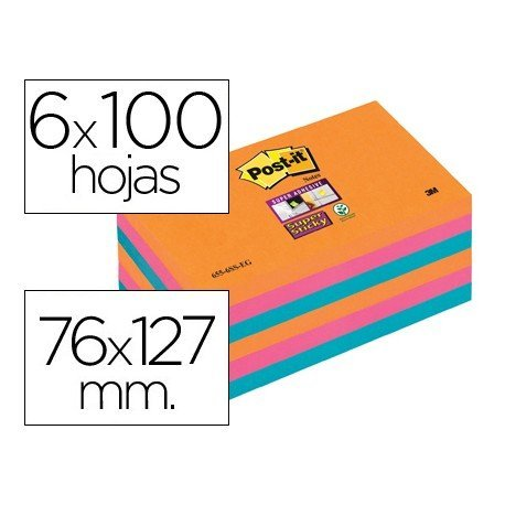Bloc notas quita y pon Post-it ® colores electricos super sticky 76 x 127 mm