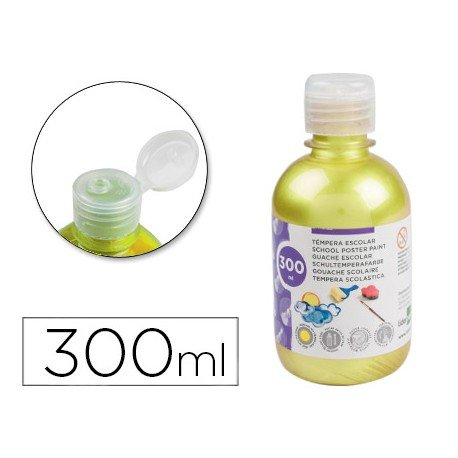 Tempera Liderpapel color amarillo metalizado 300 cc