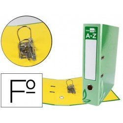 Archivador de palanca Liderpapel folio carton forrado rado verde lomo 52mm