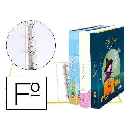 Carpeta Liderpapel 4 anillas 25 mm redondas carton forrado folio fantasia magic dollies