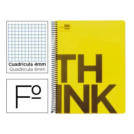 Bloc Folio Liderpapel serie Think cuadricula de 4 mm amarillo