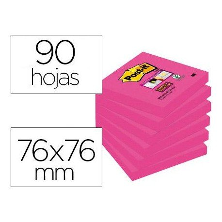Bloc de Post-it ® 76 x 76 mm color rosa 90 hojas